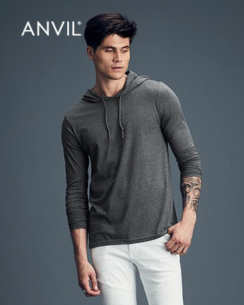 Anvil Long Sleeve Hooded T-shirt (987) Front