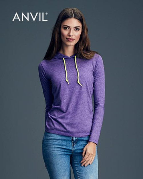 Anvil Womens Long Sleeve Hooded T-shirt (887L) Front