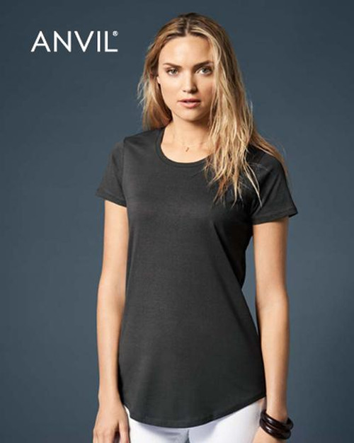Anvil Womens Black Short Sleeve T-shirt (790L) Front
