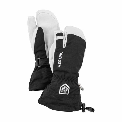 Army Leather Heli Ski Jr 3 Finger Glove - Black