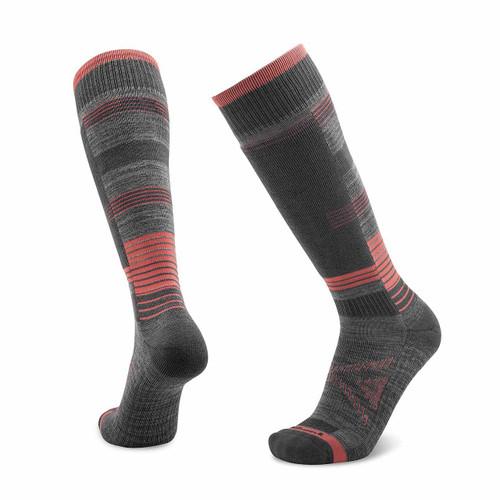 Le Sock Snow Light Ski Sock - Grey/Coral