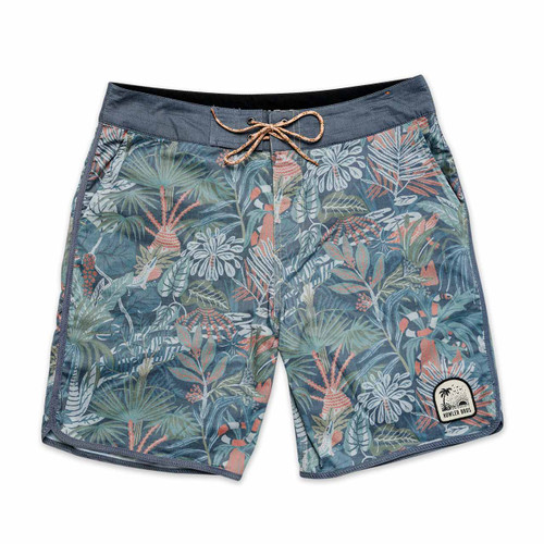 Howler Brothers Stretch Bruja Boardshorts - Glades Print: Midnight Blue