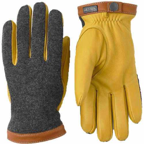Hestra Deerskin Wool Tricot Glove - Charcoal/Natural Yellow