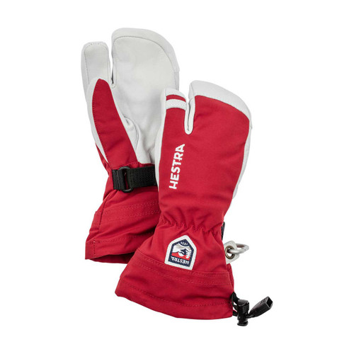 Army Leather Heli Ski Jr 3 Finger Glove - Red