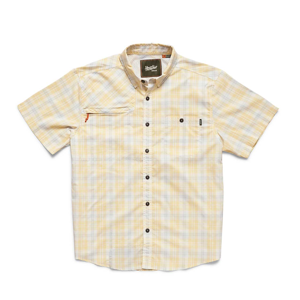 Howler Brothers Men's Matagorda Short Sleeve Shirt | Size Small | Sunny Yellow | Campman