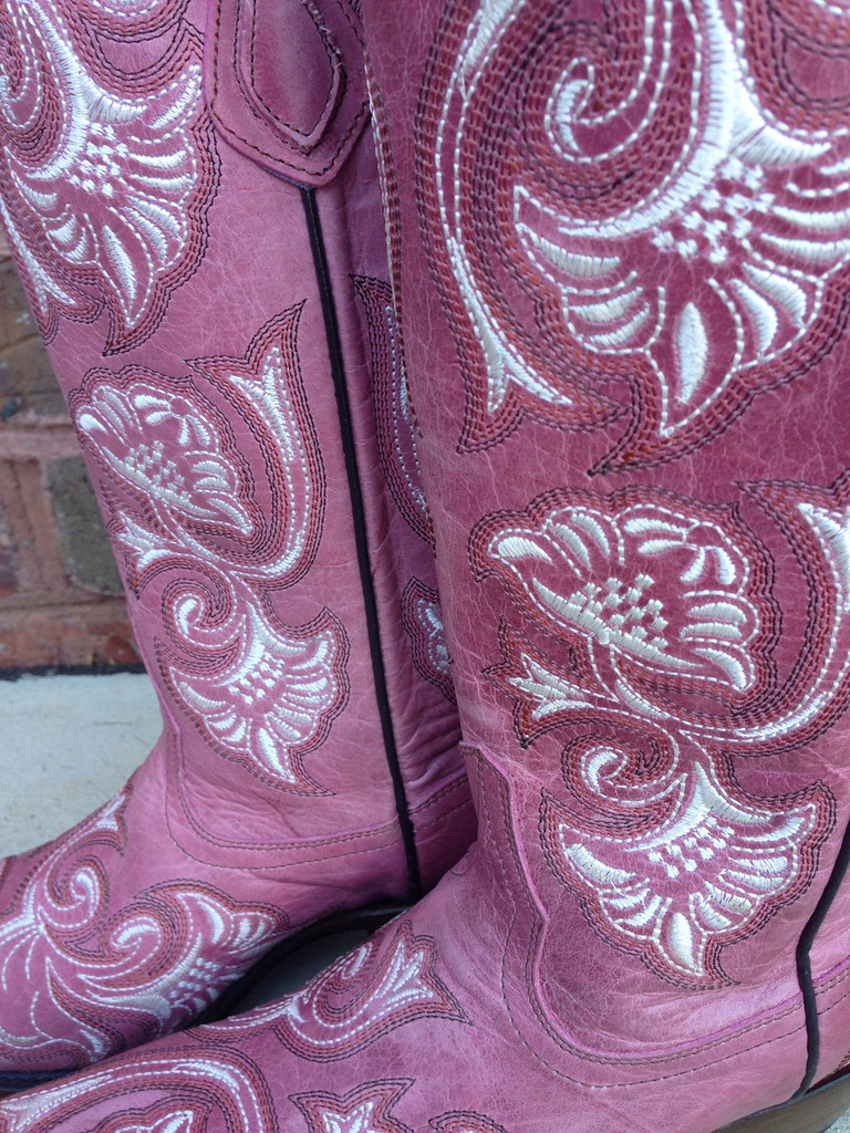 Corral Pink Floral Full Stitch Boots