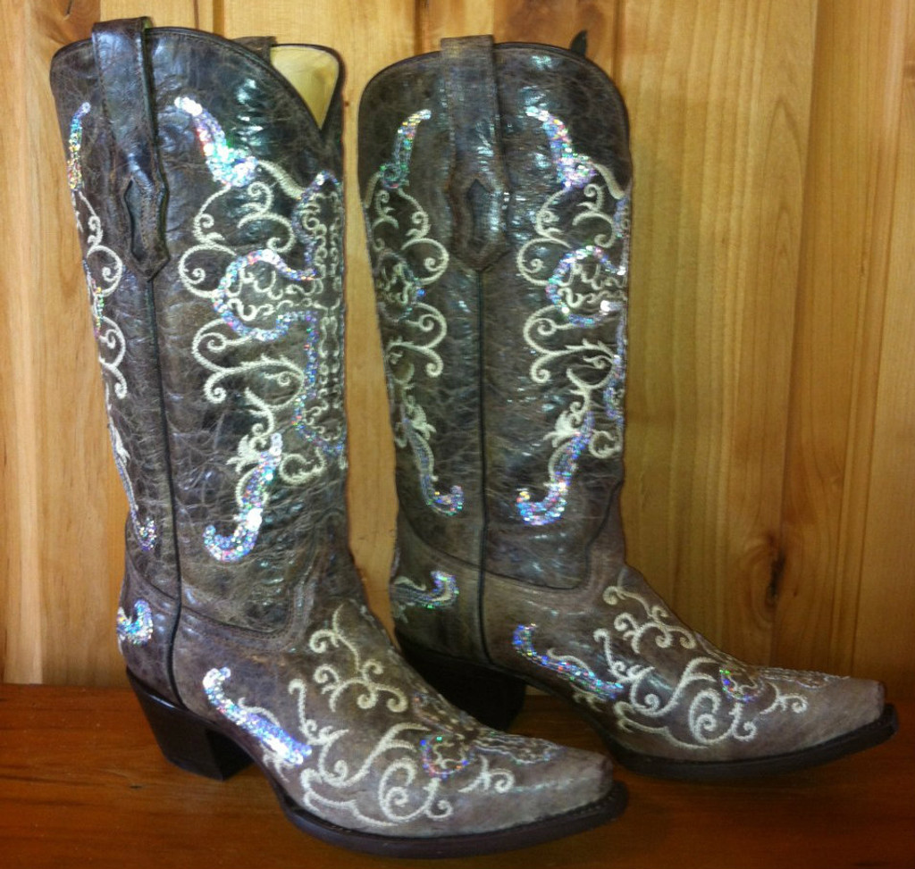Corral Tobacco Silver Cross Boots