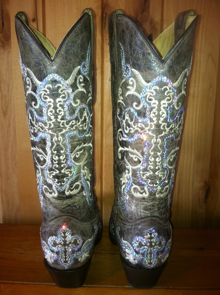 Corral Tobacco Silver Cross Cowgirl Boots A1187