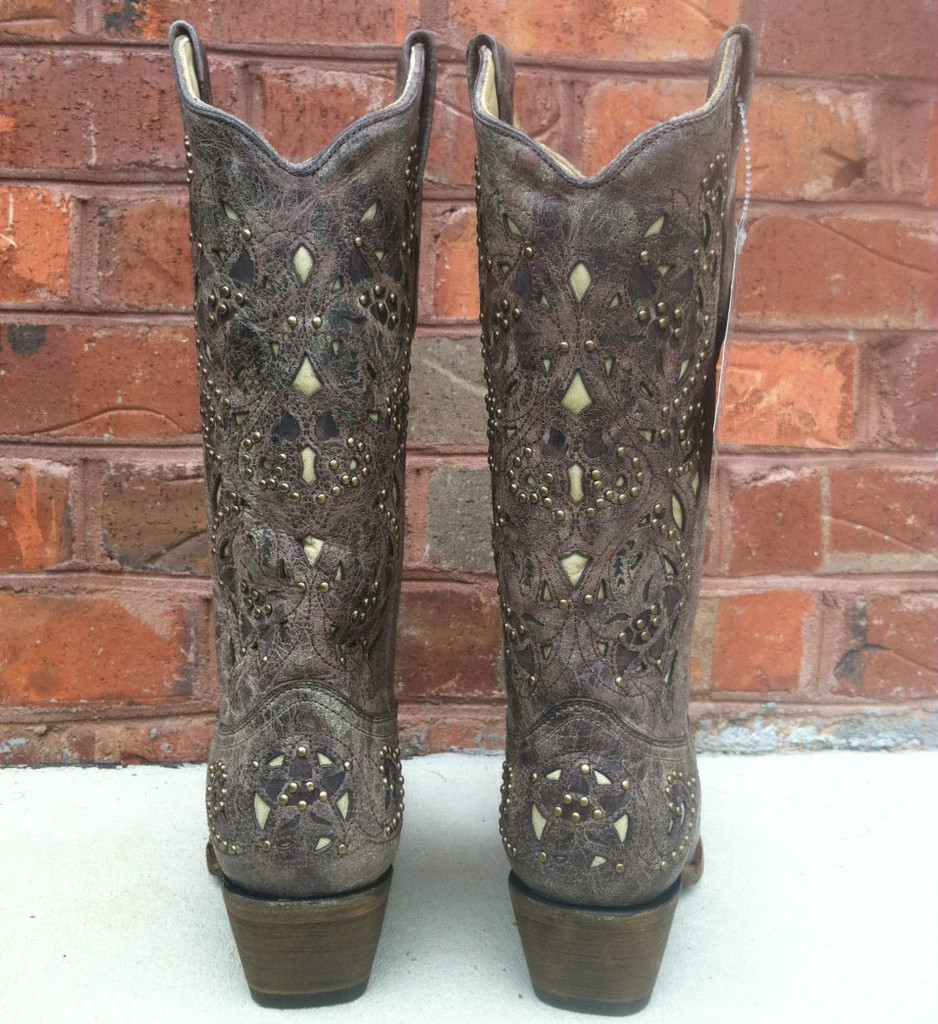 Corral Brown Crater Bone Inlay & Studs A1098 Boot