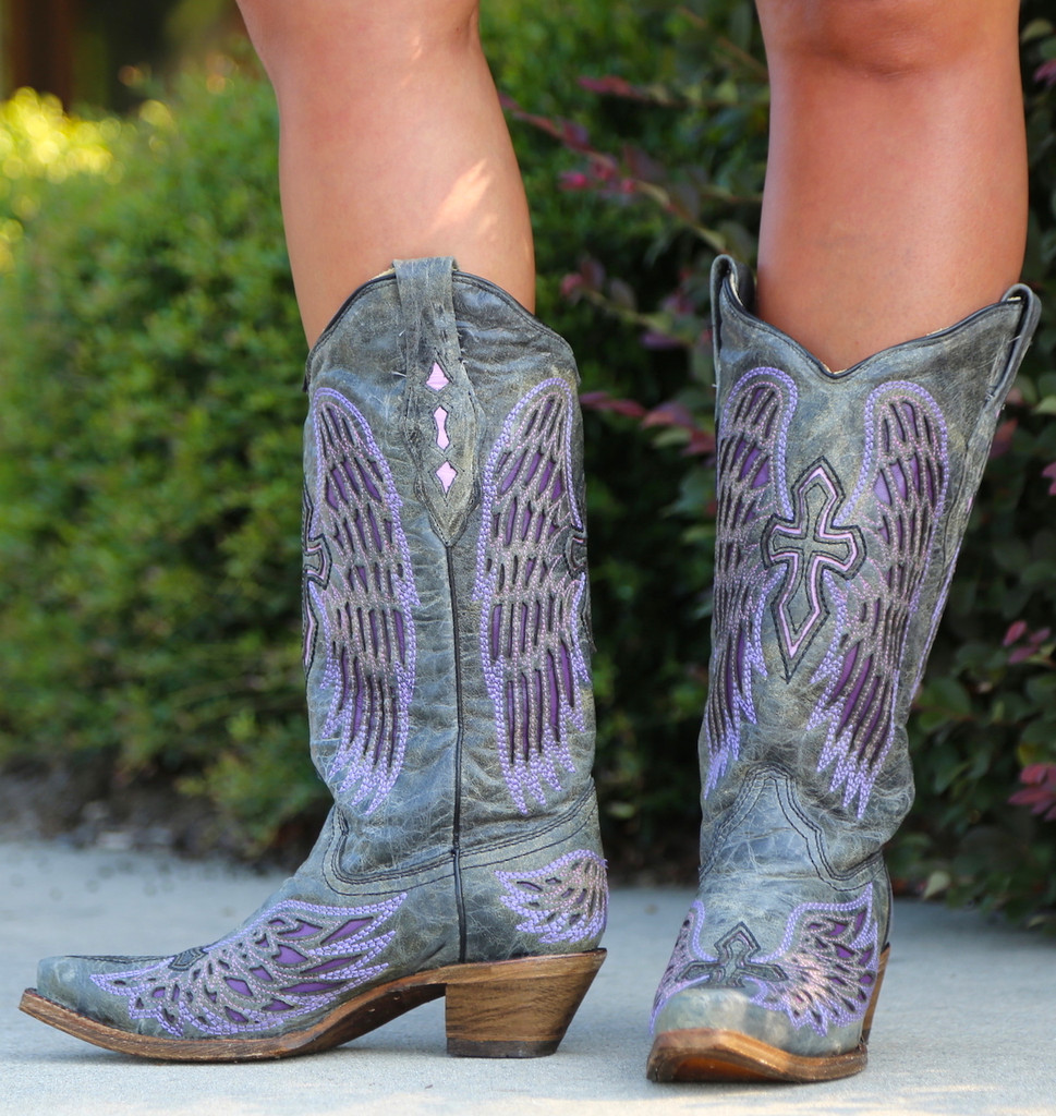 Corral Black Purple Wing Cross Boots A1969 Photo