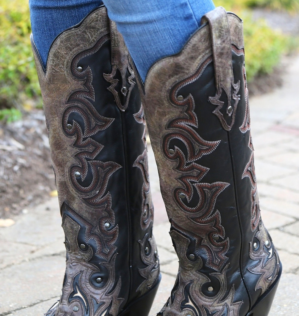 Corral Black/Brown Tall Inlay and Studs Boots G1069 Detail
