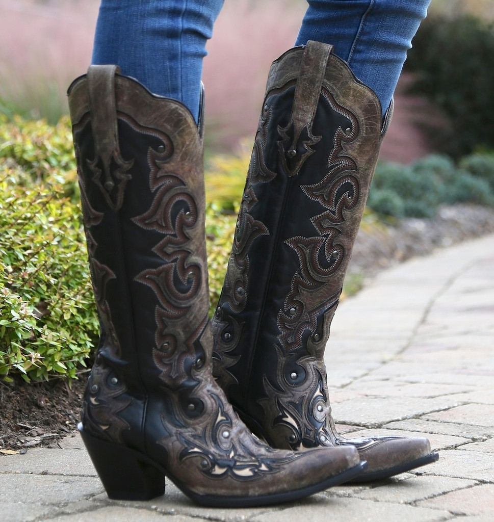 Corral Black/Brown Tall Inlay and Studs Boots G1069 Image