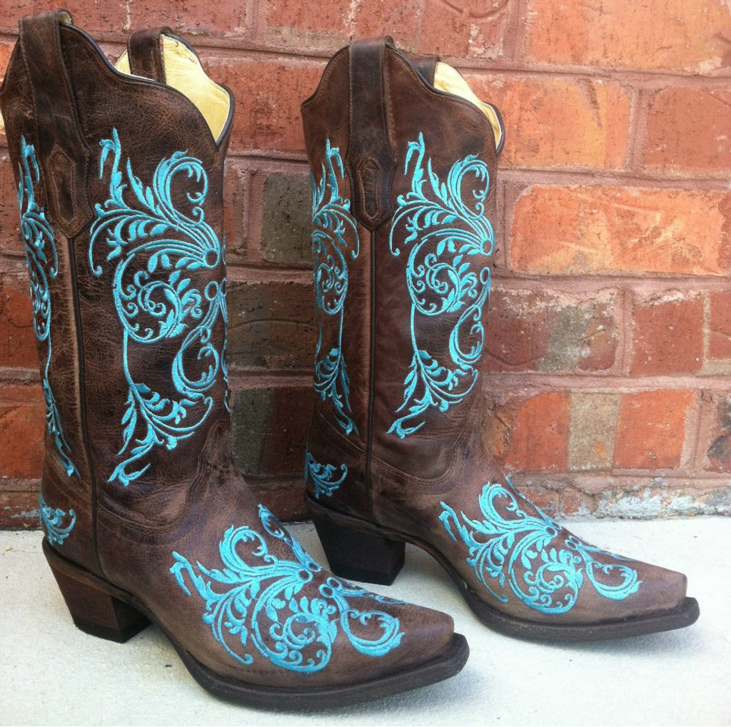 Corral Brown/Turquoise Dahlia Embroidery Boot R1193