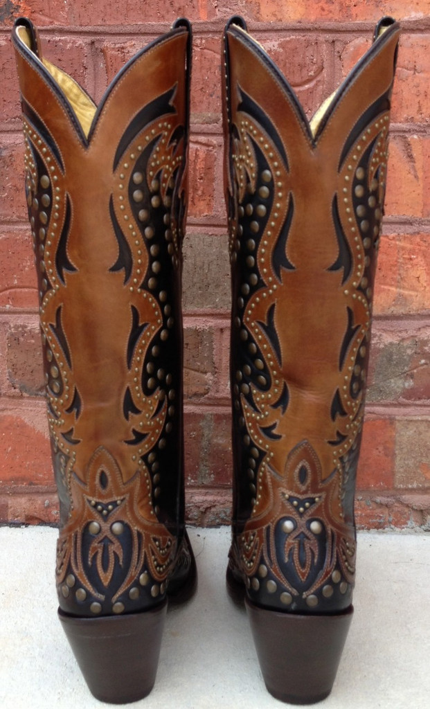 Corral Black/Cognac Laser Tall Inlay and Studs Cowgirl Boots G1072
