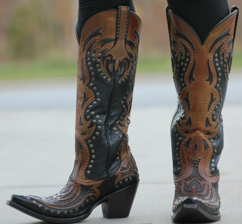 Corral Black/Cognac Laser Tall Inlay and Studs G1072 Picture