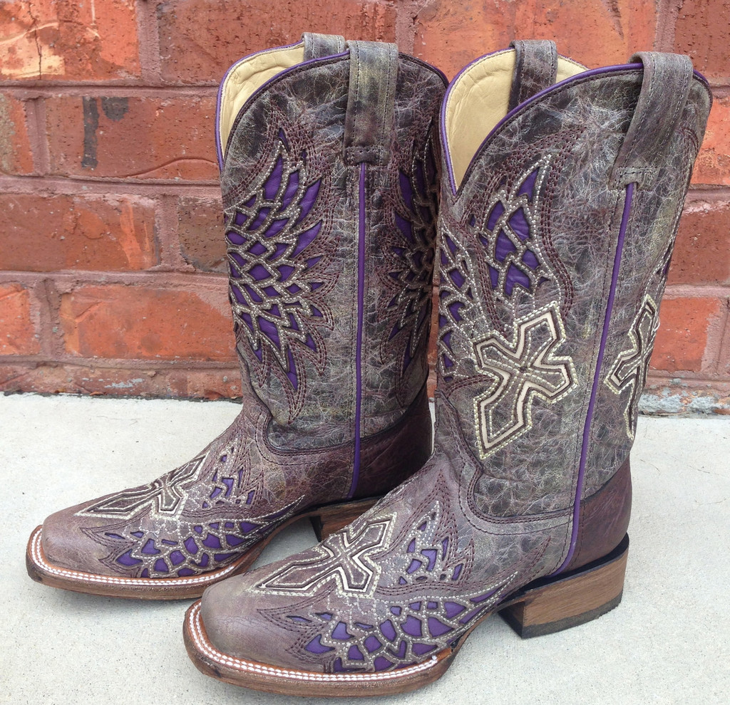 Corral Brown/Purple Wing and Cross Boots A2646