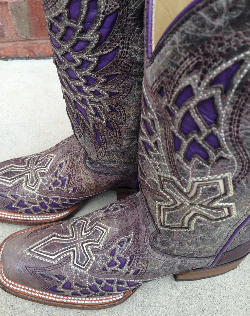 Corral Brown/Purple Wing and Cross Boot A2646