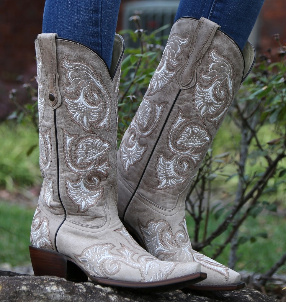 Corral Bone Floral Full Stitch Boots G1086 Picture