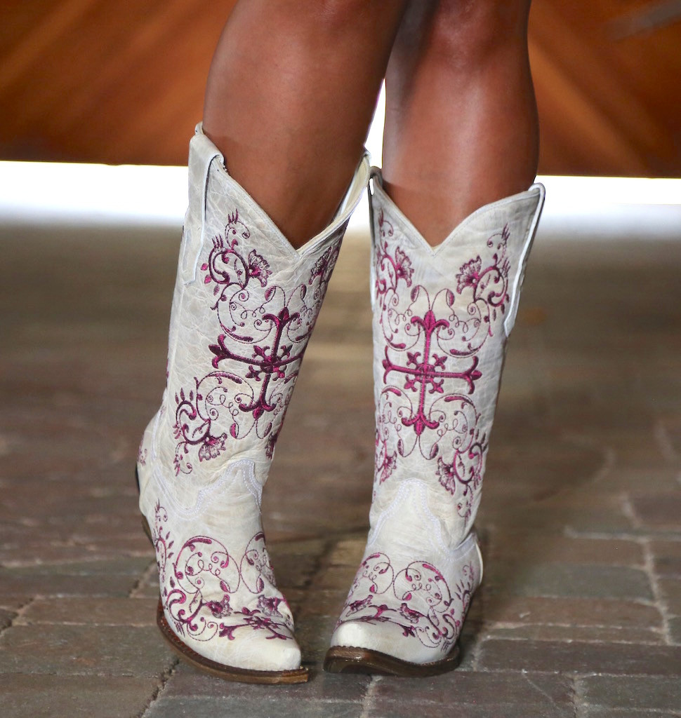 Corral Bone/Metallic Wine Floral Cross Boots A2631 Image