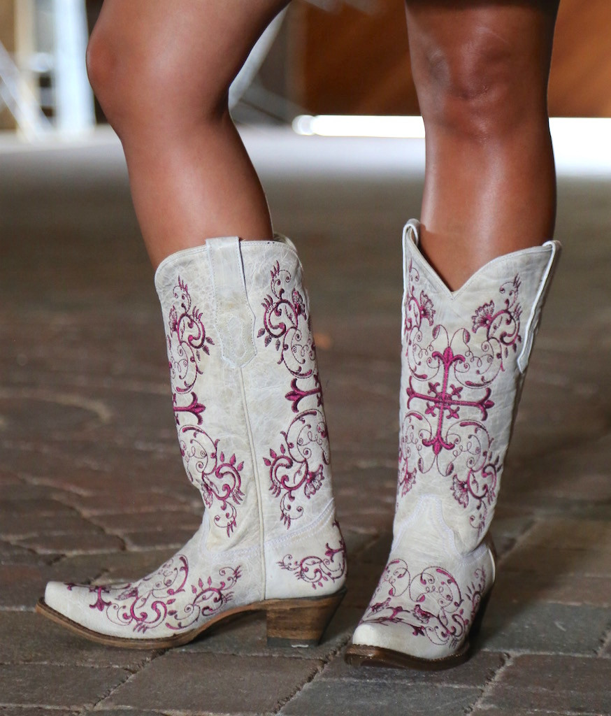 Corral Bone/Metallic Wine Floral Cross Boots A2631 Picture