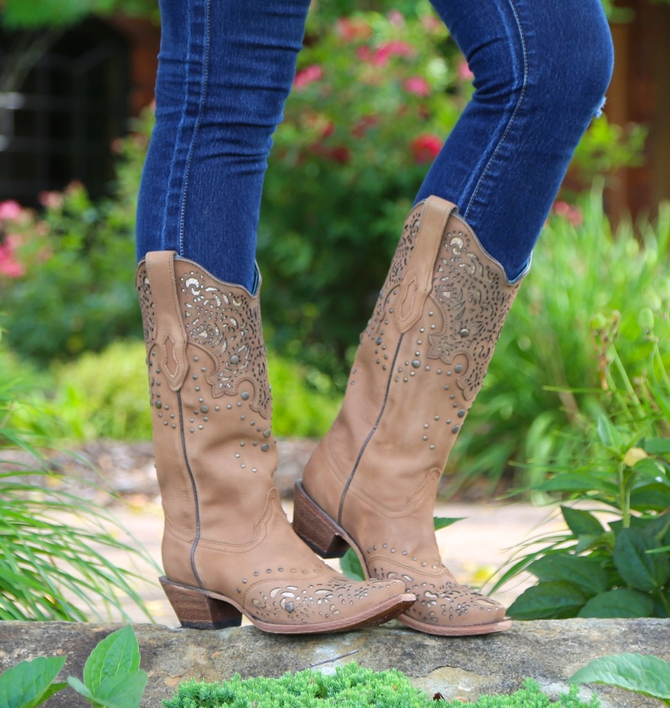 Corral Honey Fango/Bronze Glitter Collar & Wing Tip Boots C2687 Image