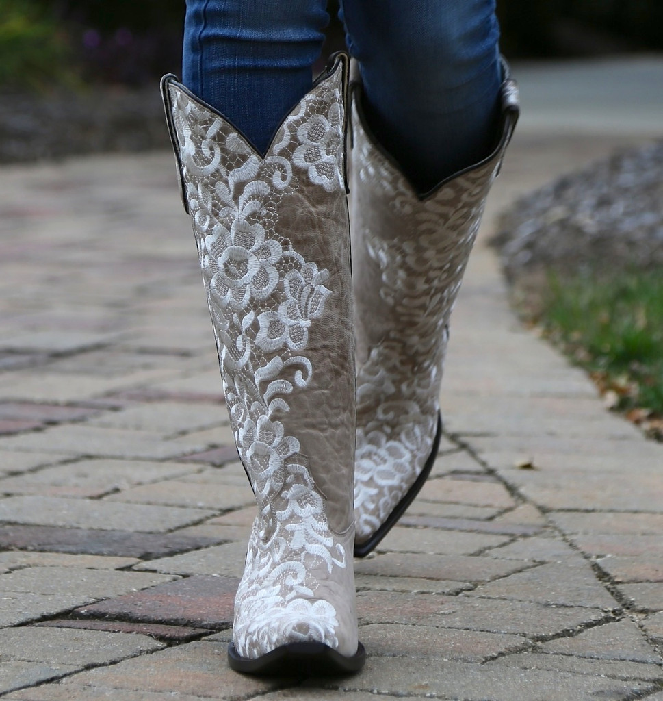 Corral Bone Tall Lace Embroidery Boots G1128 Walk 2