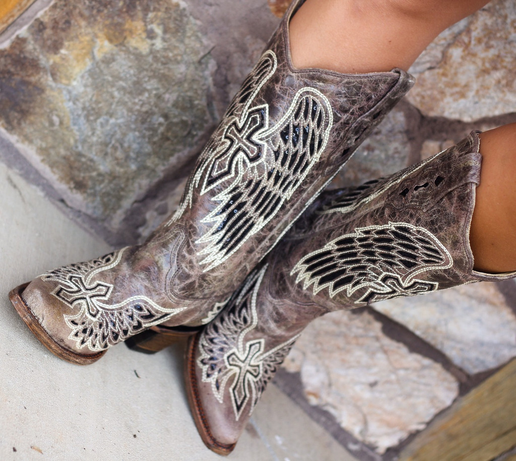 Corral Brown Black Wing and Cross Boots A1241 Picture