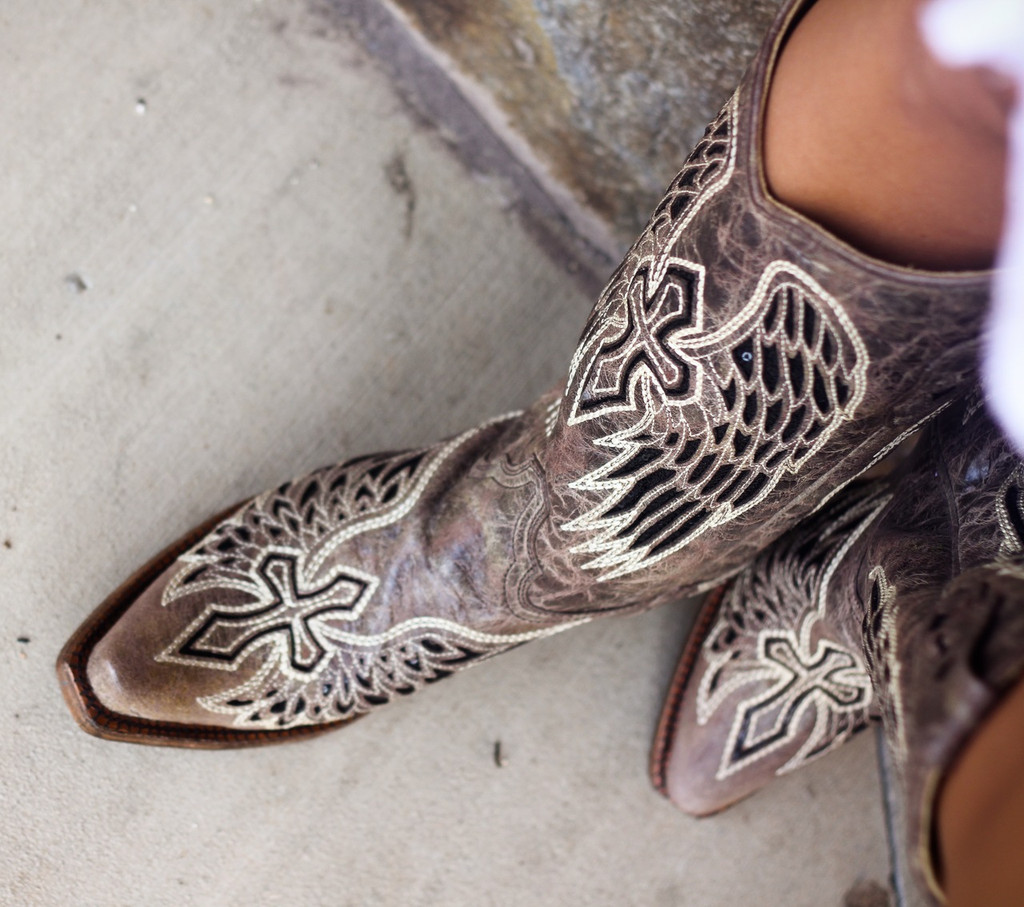 Corral Brown Black Wing and Cross Boots A1241