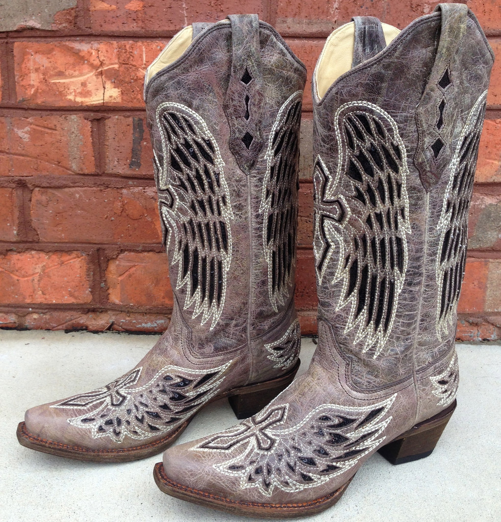 Corral Brown Black Wing and Cross Boots