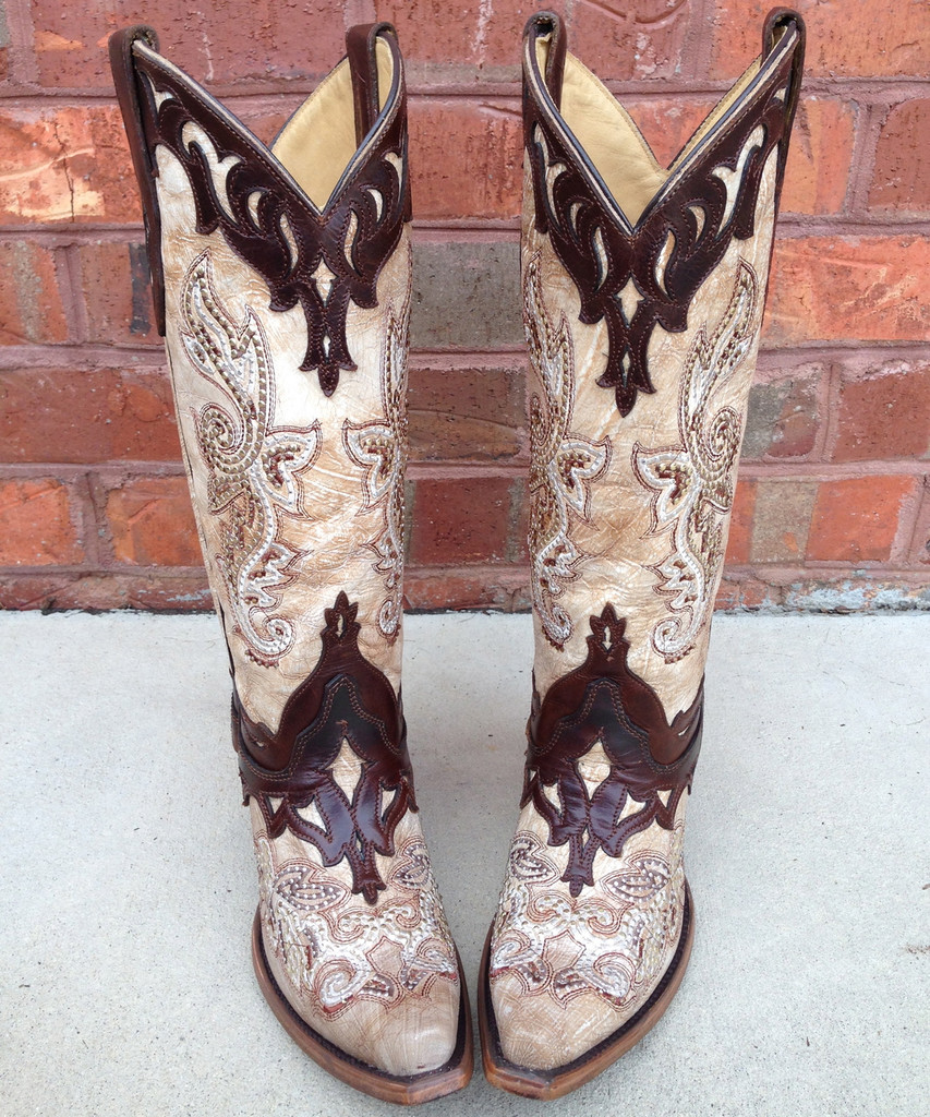 Corral Crackle Bone Tan Studded Cowgirl Boots Picture