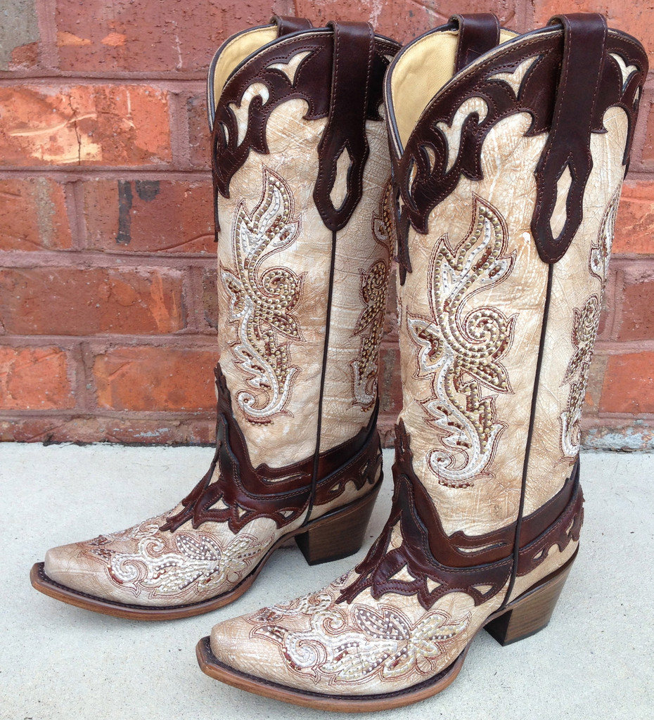 Corral Boots Crackle Bone Tan Studded C2825