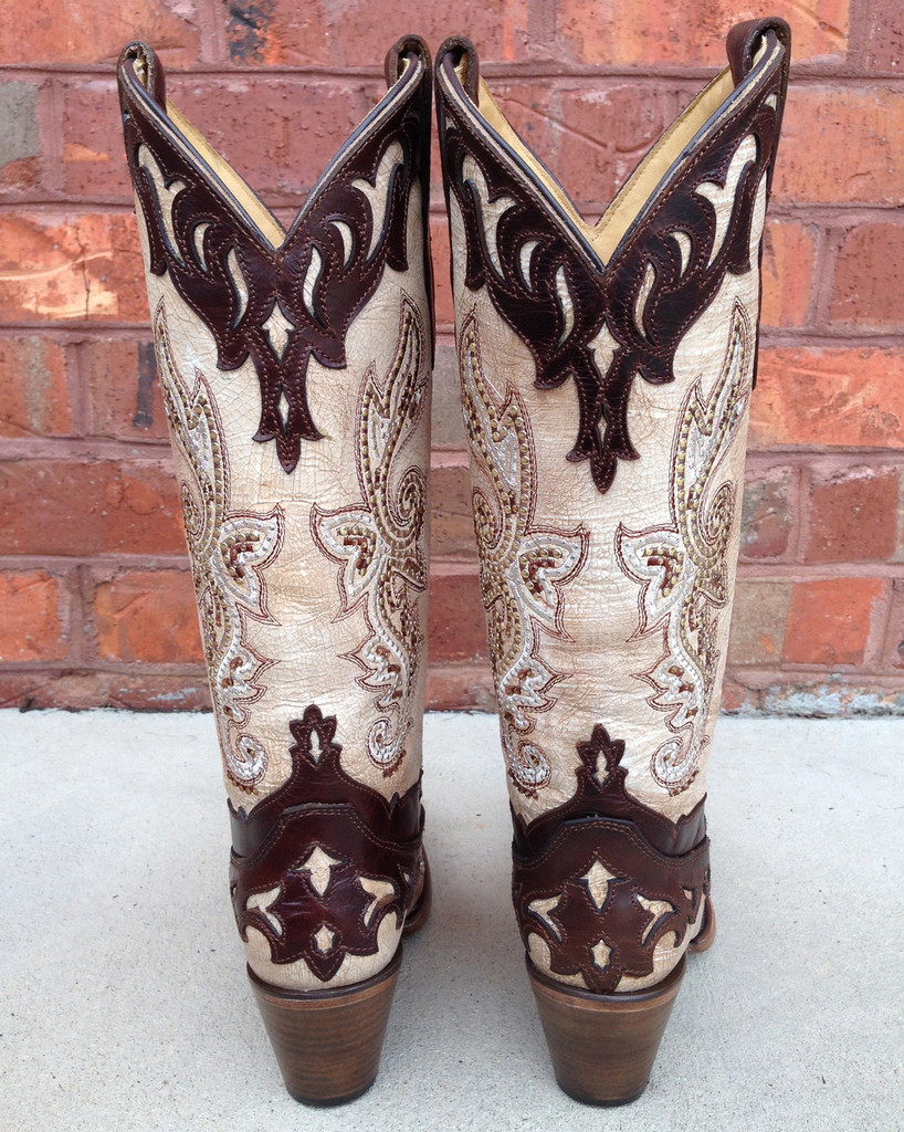 Corral Crackle Bone Tan Studded Cowgirl Boots C2825
