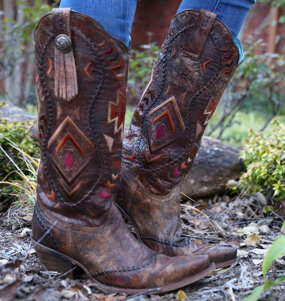 Corral Multicolor Ethnic Pattern and Whip Stitch Boots C2872 Image