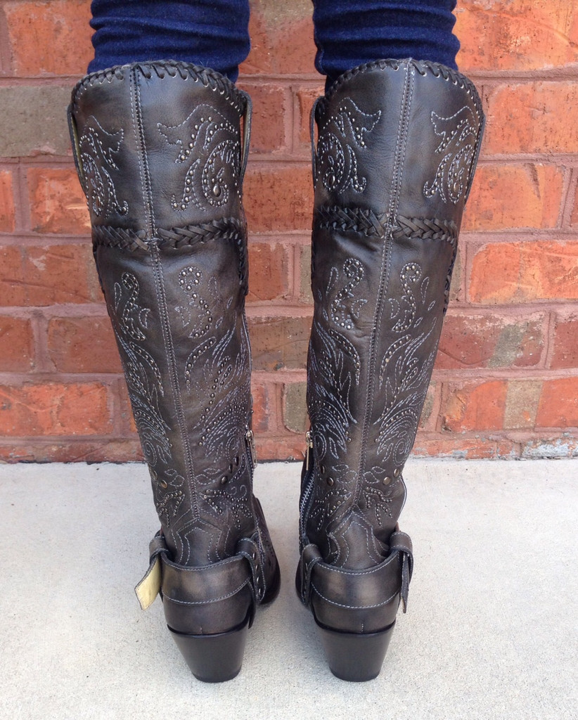 Corral Black Whip Stitch and Studs Boots G1117