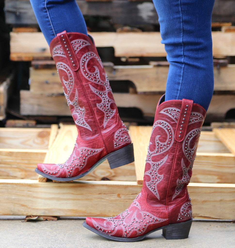 Lane Lovesick Stud Red Boots LB0199C Picture