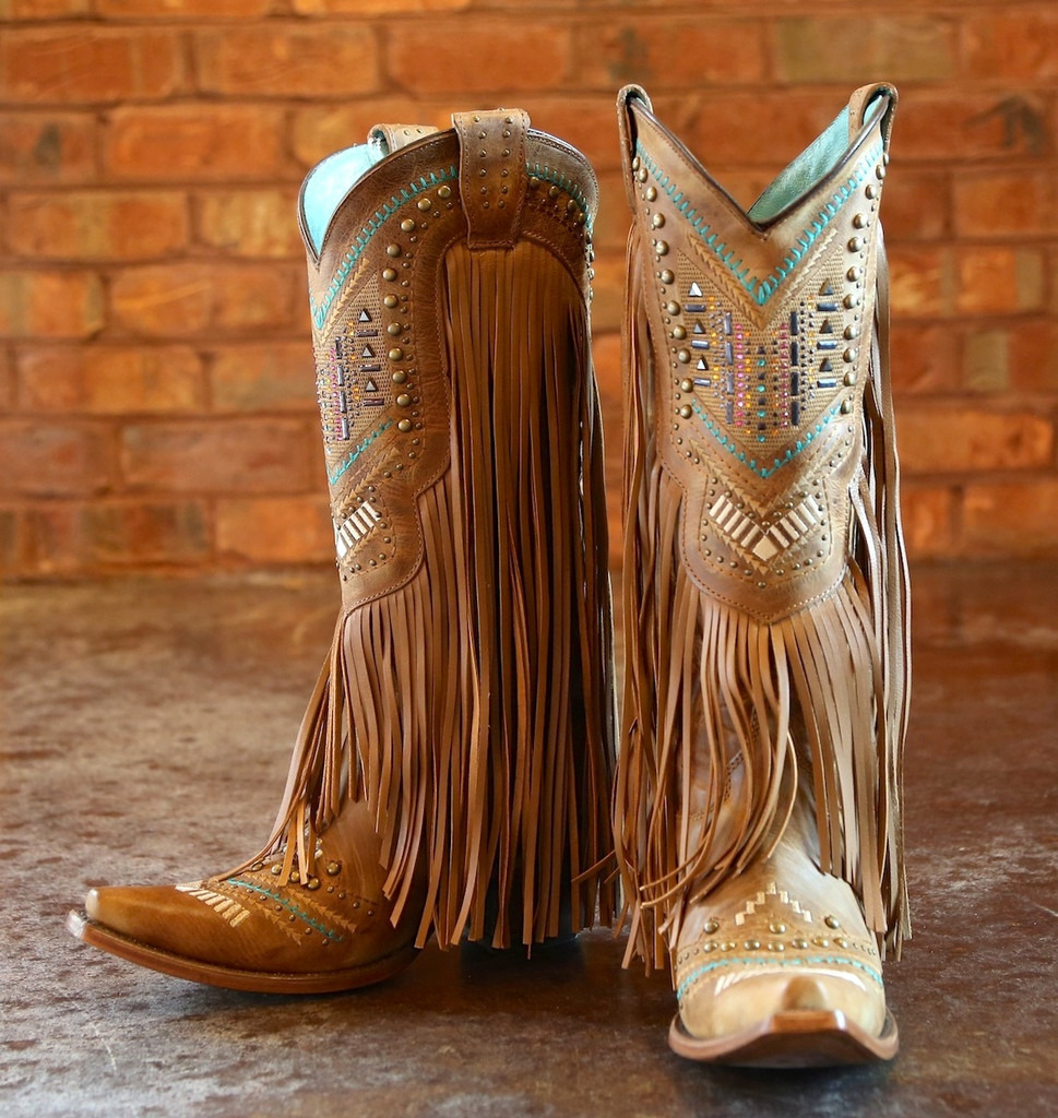 Corral Tan Multicolor Crystal Pattern and Fringe Boots C2910 Picture