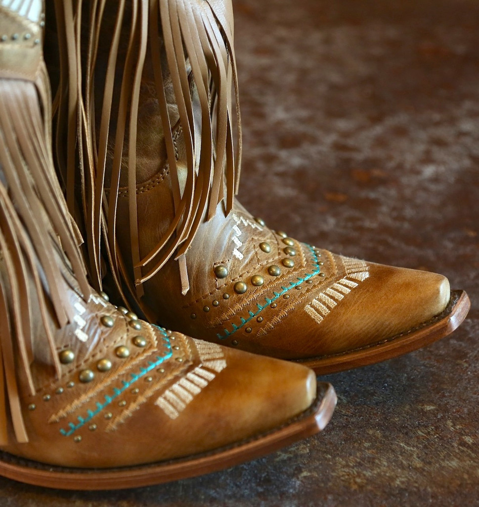 Corral Tan Multicolor Crystal Pattern and Fringe Boots C2910 Toe