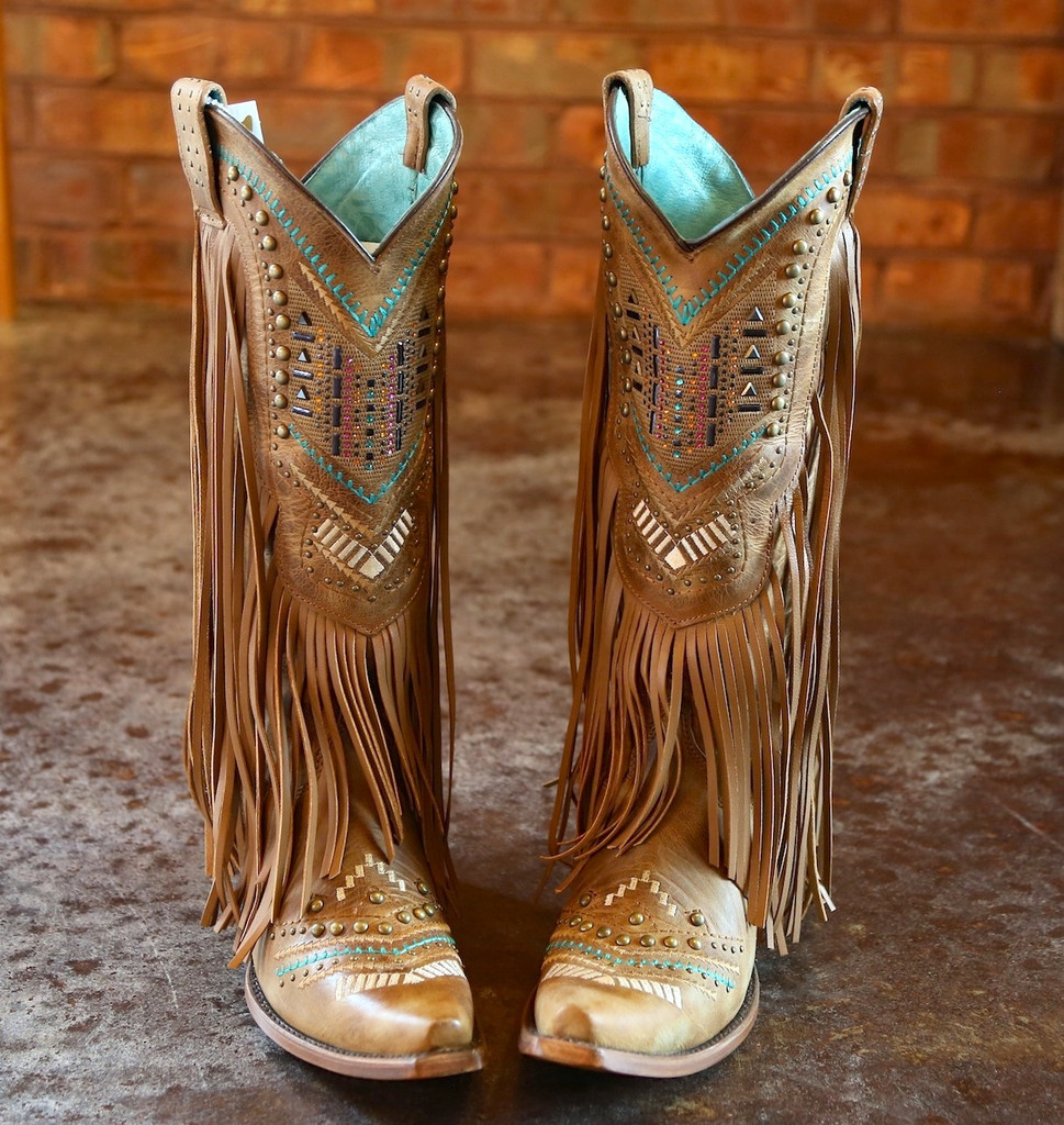 Corral Tan Multicolor Crystal Pattern and Fringe Boots C2910 Top