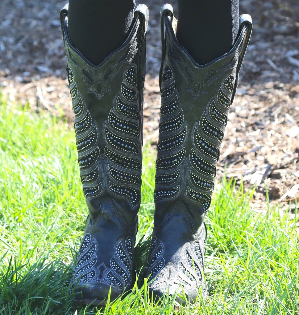 Corral Black Crystals Inlay Boots