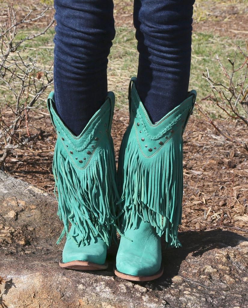 Liberty Black Vegas Fringe Boots Turquoise LB71124 Image