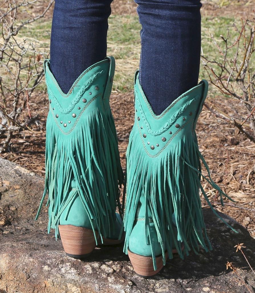 Liberty Black Vegas Fringe Boots Turquoise