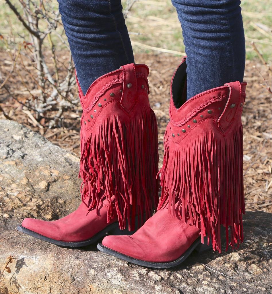 Liberty Black Vegas Fringe Boots Red LB71124 Picture