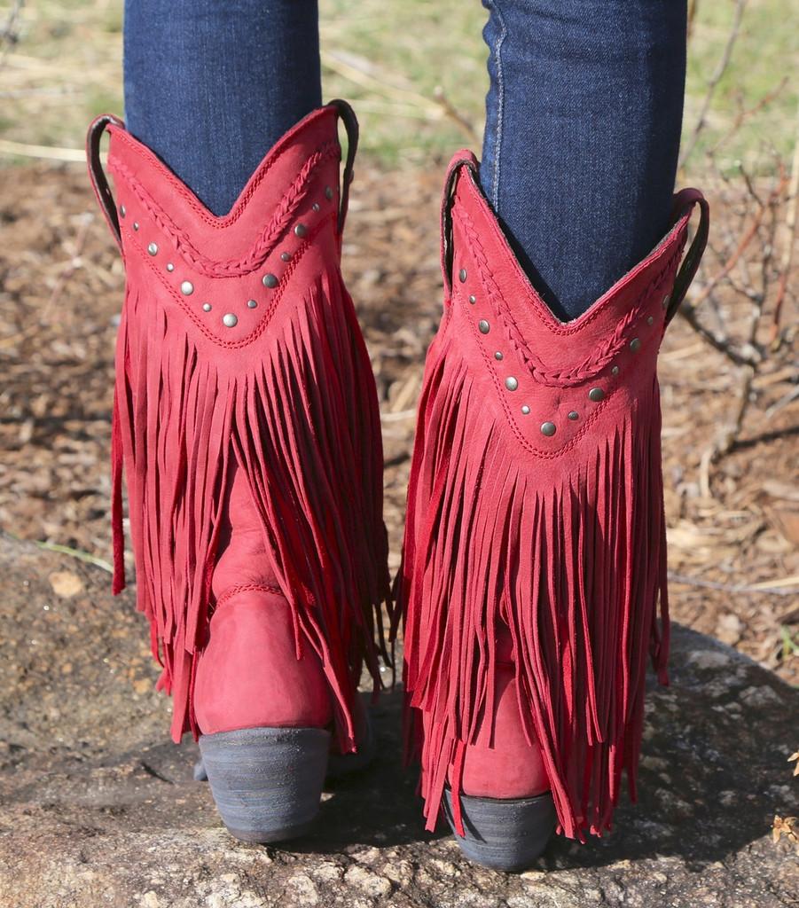 Liberty Black Vegas Fringe Boots Red LB71124