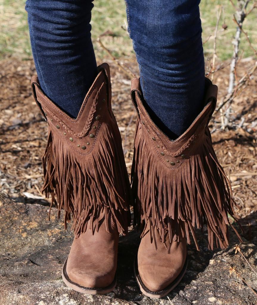 Liberty Black Vegas Fringe Boots Chocolate LB71124