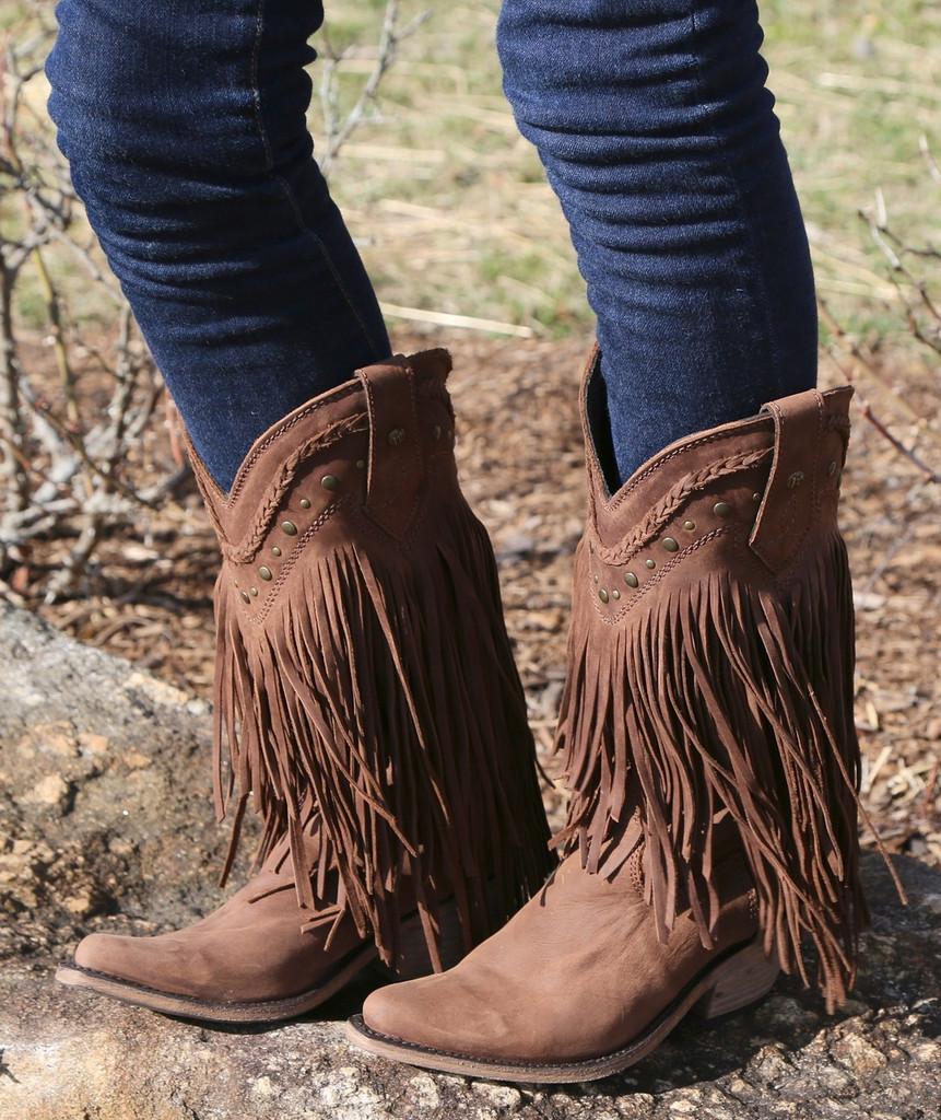 Liberty Black Vegas Fringe Boots Chocolate LB71124 Image