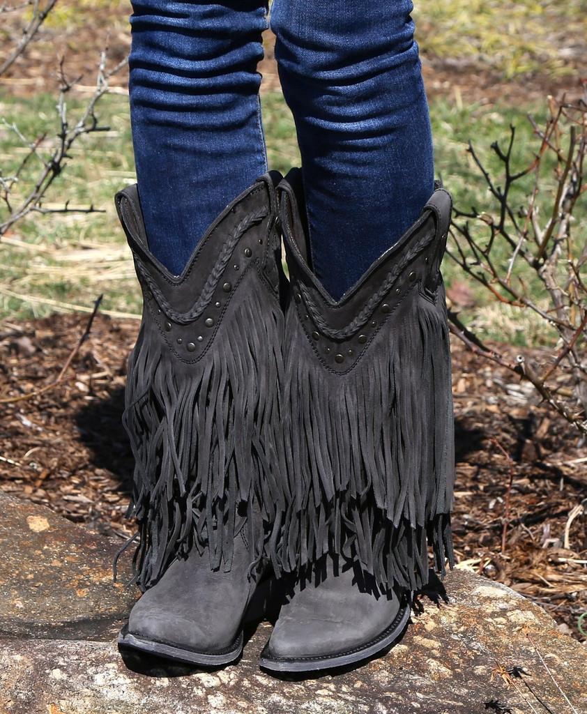 Liberty Black Vegas Fringe Boots Black LB71124
