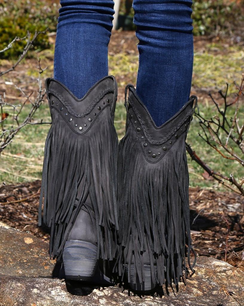 Liberty Black Vegas Fringe Boots Black