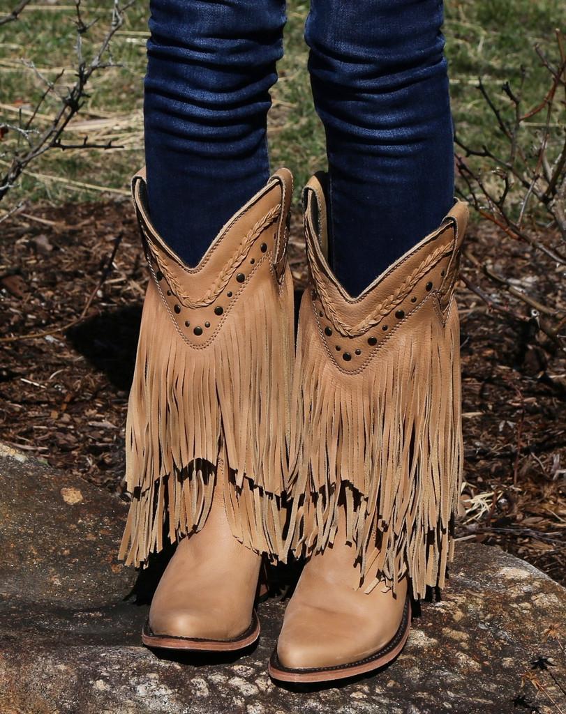 Liberty Black Vegas Fringe Boots Bone LB71124