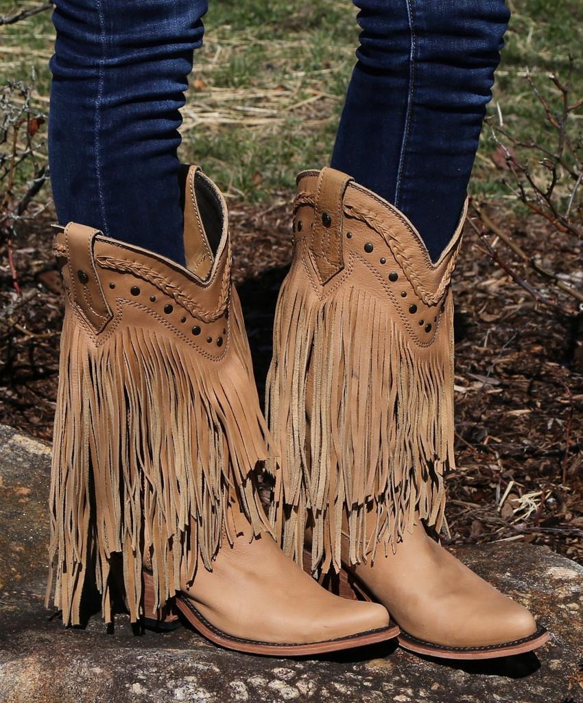 Liberty Black Vegas Fringe Boots Bone LB71124 Image