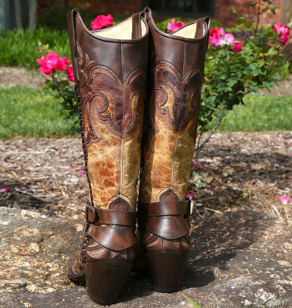 Corral Antique Saddle Cognac Brown Harness and Studs Boots G1229 Heel